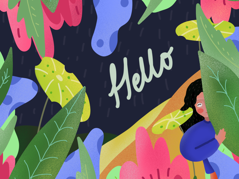 A shy hi newyear 2020 adobe procreate colourful pattern shy girl plants illustration colours leaves doodle