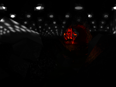 Night Cave Fire Man