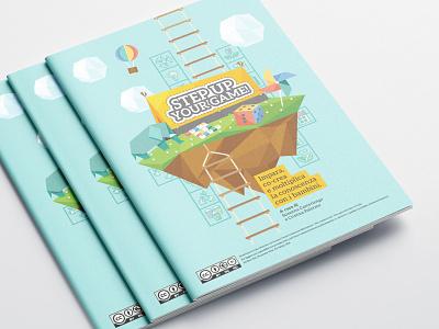 "Handbook about ""Gamification garden"" project educator children reuse recycle editorial design vector illustration"