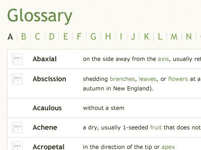 Glossary green verdana trebuchet organic plants glossary alphabet app definitions