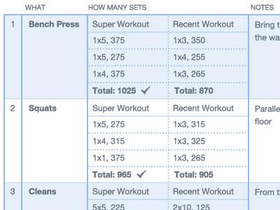 Workout Log table data exercise rows columns stripes