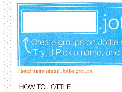 Jottle Groups input helvetica neue blue orange jottle