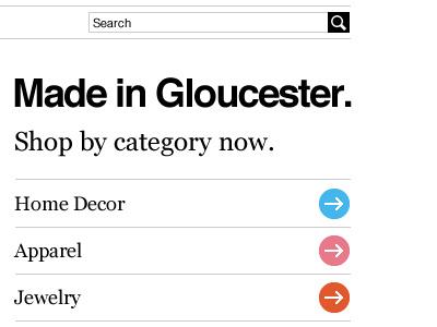 Gloucester Goods e-commerce helvetica georgia black white