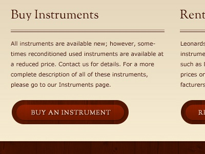 Musical Instrument E-Commerce site wood verdana sorts mill goudy button red texture text-shadow