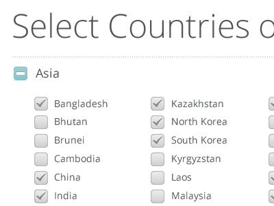 Account Setup screen countries regions open sans checkbox