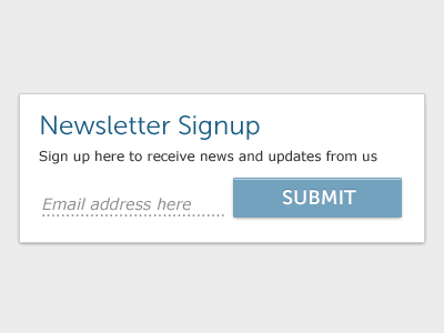 Newsletter Signup museo sans verdana submit button dotted line