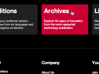 MIT Technology Review - Footer footer hover state red lists