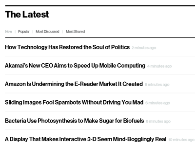 The Latest feed hierarchy typography contrast feed publishing timestamp filters