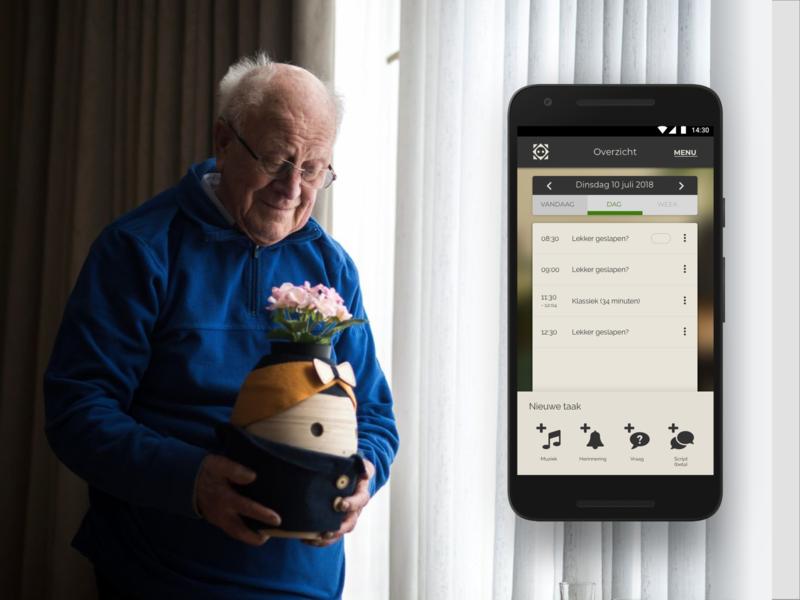 Social robot for dementia - Tessa healthcare app healthcare elderly dementia app design android ios ux sketchapp sketch reminders app reminders reminder calendar ui robot calendar app calendar design calendar ui