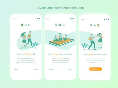 Event Organizer Onboarding App event wedding mobile ui onboarding ui