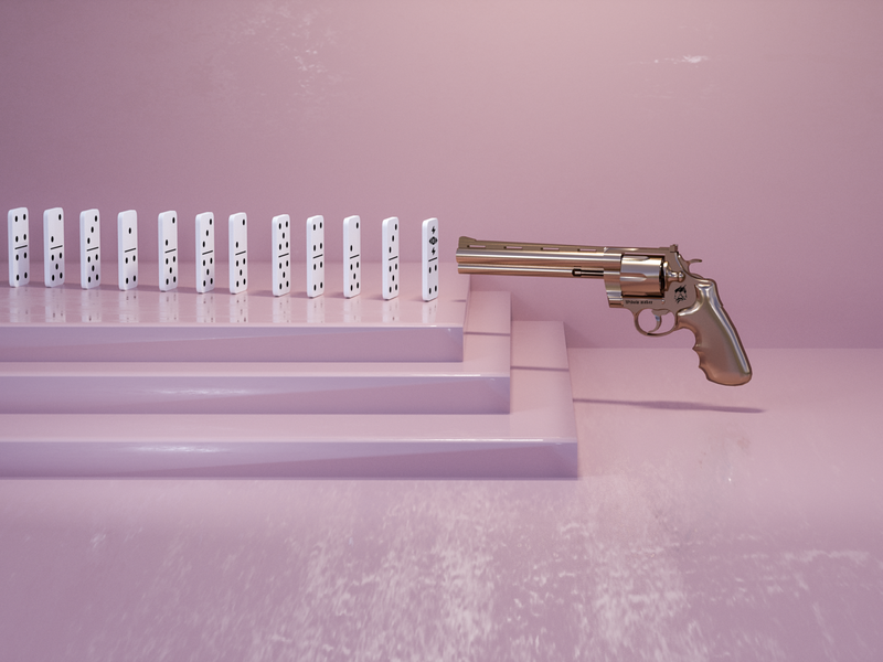 The Witness branding clean domino gun pastel calm art 3d artist 3d art 3d illustration design