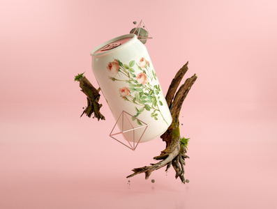 Canned Flora octanerender c4d can pink branding art 3d artist 3d art 3d illustration design