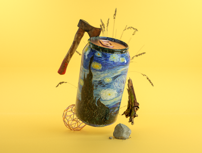 Canned Culture axe can painting yellow calm branding clean art 3d artist 3d art 3d illustration design