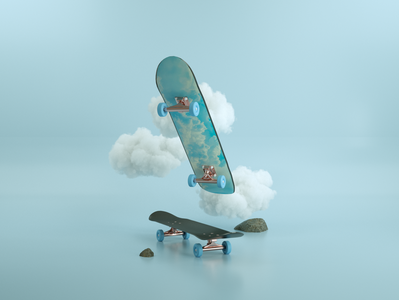 Blue Boy cloud skateboard skate branding blue clean art 3d artist 3d 3d art illustration design