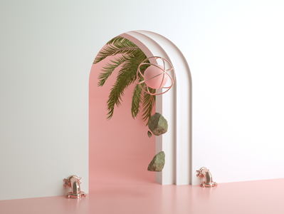 Smooth Coil rock palm pink web 3d branding clean art 3d artist 3d art illustration design