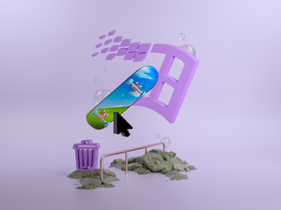 'Windows 2095' vaporwave windows purple calm branding clean art 3d artist 3d art 3d illustration design