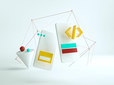 mobile app development // 3D Illustration white web calm branding clean 3d artist 3d illustration design