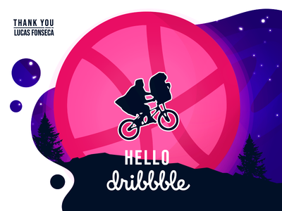 E.T. phone Dribbble! first blue hello debut web flat vector design illustration