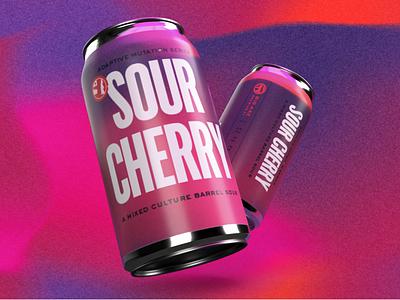 Sour Cherry bold type psychedelic fun packaging branding beer label beer art beer can
