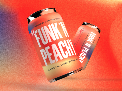 Funk N Peachy psychedelic blue orange peach funk beer label beer art beercan beer