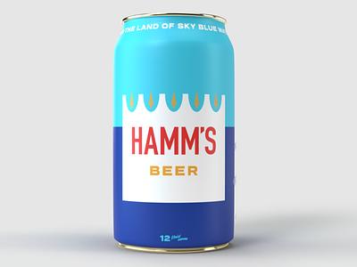 Hamm's Beercan redesign branding 3d design blue packaging beercan beer