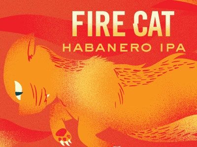 Fire Cat Illustration nisswa minnesota label cat habanero fire ipa double folklore lore can beer
