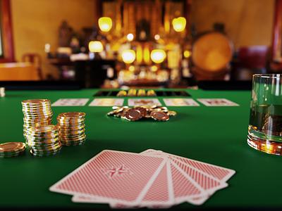 Poker Table whisky play cards game chip glass 3d poker octane render cinema 4d