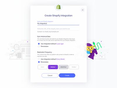 Integrations Process shopify branding connections data ai complex form form big data integrations modal window