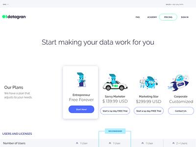 Pricing Desktop2 bright analysis illustration startup ad optimizer ai big data datagran data pricing tables pricing plans pricing table pricing analytics