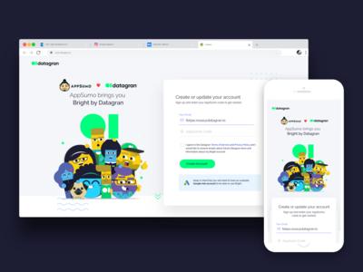 Appsumo + Datagran registration page
