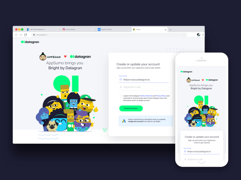 Appsumo + Datagran registration page illustration big data form sign in character ilustration digital product charts audiences marketing bright artificial intelligence ad optimizer ai analytics landingpage datagran appsumo login signup landing