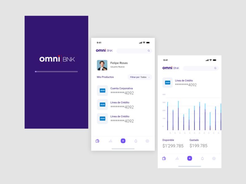 OmniBNK Mobile Concept omnibnk bank products dashboard loading splash fintech
