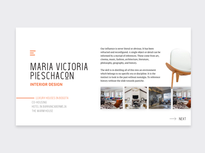 Interior Design Concept personal website designers travel hotel booking chair furniture furnish hamburguer menu landing experimental portfolio website interior design ideas interior design