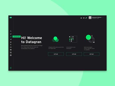 Datagran Onboarding Dark Version optimization ads ui artificial intelligence steps onboarding screen analytics ai data dark interface dark ui dark datagran onboarding