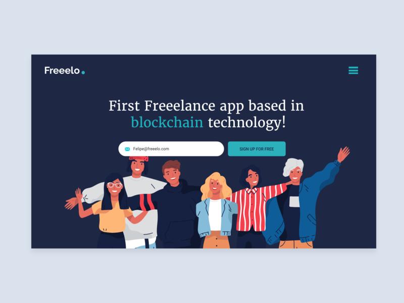 Freeelo Website friends inspiraton blue happy payments app new technology trabajosihay buscador trabajo job board job freelance design freelancers freelance illustration tech new blockchain