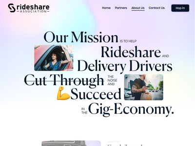 Rideshare About Page 🏳️‍🌈 Iridescent Hero website web design typography serif rideshare modern layout iridescent design delivery colorful branding