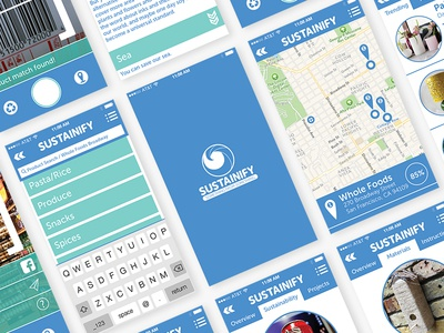 Sustainify App Concept social augmented reality ar ios blue environment sustainability ui ux app sustainify