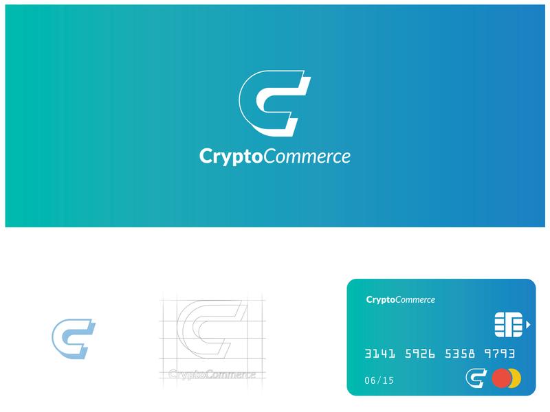 CryptoCommerce Logo illustration typography logo vector branding