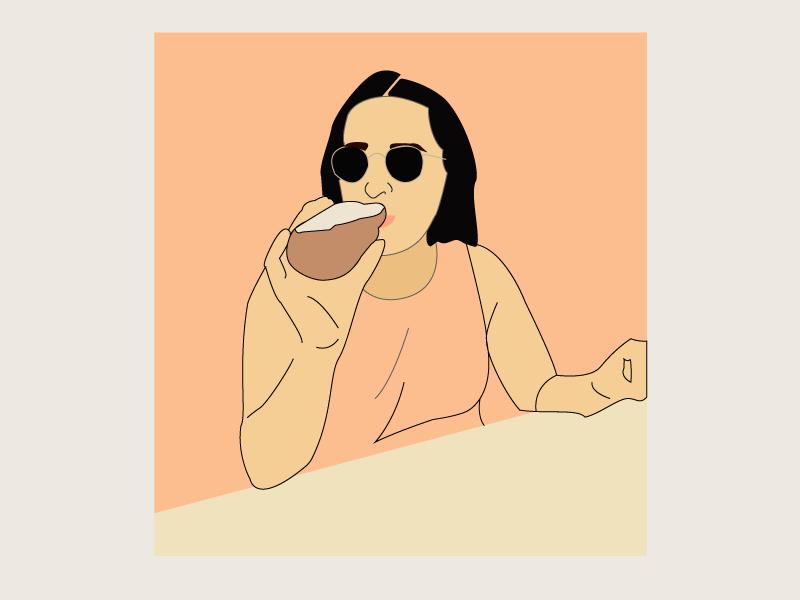 Golden Hour feminist women woman hand drawn illustration golden hour beer summer drinking