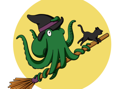 Time To Fly witch halloween cat kidlit procreate childrens illustration illustration octopus