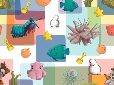Animal Alphabets Color Block Repeating Pattern repeating pattern pattern sea life fish procreate childrens illustration illustration