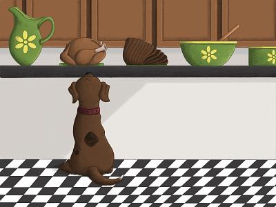 """""""Oh No, Buddy!"""" Children's Book Illustrations dog illustration food feast dinner dog kidlit childrens illustration procreate illustration"""