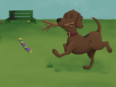 """Oh No, Buddy!"" Children's Illustrations dog illustration park puppy dog kidlit childrens illustration procreate illustration"
