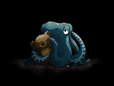 Bed Time bear teddy kidlit childrens illustration bedtime bed time teddy bear tired sleepy cephalopod procreate illustration octopus