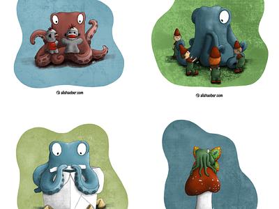 Octopus set 1 fortune cookie sock monkey puppets gnomes fairy mushroom kidlit procreate illustration octopus