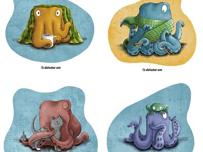 Octopus set 2 knitting kitty kitten cat frog octopus kidlit childrens illustration procreate illustration
