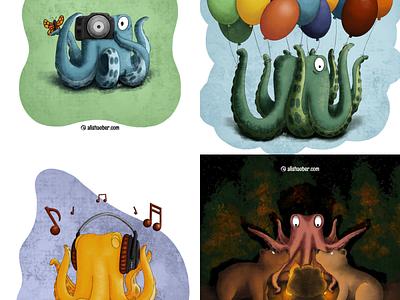 Octopus set 3 photography balloons bears octopus kidlit childrens illustration procreate illustration
