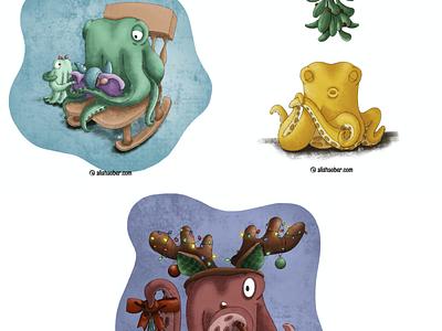 Octopus set 4 octopus kidlit childrens illustration procreate illustration
