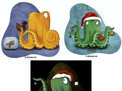 Octopus set 5 octopus kidlit childrens illustration procreate illustration