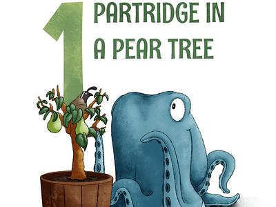 Partridge In A Pear Tree octopus kidlit childrens illustration procreate illustration
